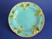 George Jones Majolica 'Strawberry' Plate - Pattern 3363 Pink Flowers on Turquoise Ground c1870